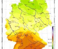 Zu sehen ist eine Karte mit der Sonneneinstrahlung in Deutschland im September 2021.