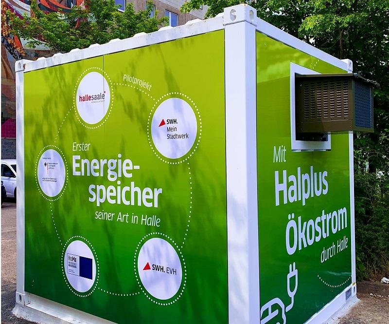Zu sehen ist ein elektrischer Energiespeicher mit intelligentem Lade-Speicher-Management, der an der Hochschule Merseburg für die Elektromobilität entwickelt wurde.