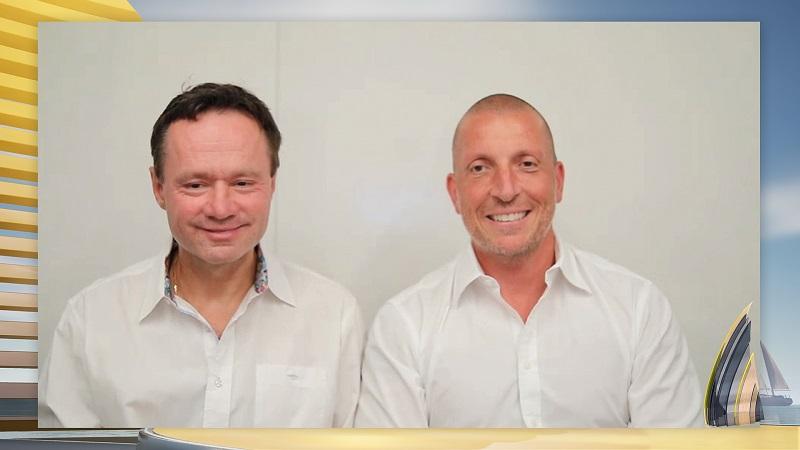 ZU sehen sind die Photovoltaiktechnologie-Innovatoren Henrik Lindström und Giovanni Fili, die den Europäischen Erfinderpreis 2021 für ihre Farbstoffsolarzelle erhalten.