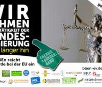Flyer zur Bürgerenergie-Beschwerde der Verbände mit Logos und Bild von Justizia