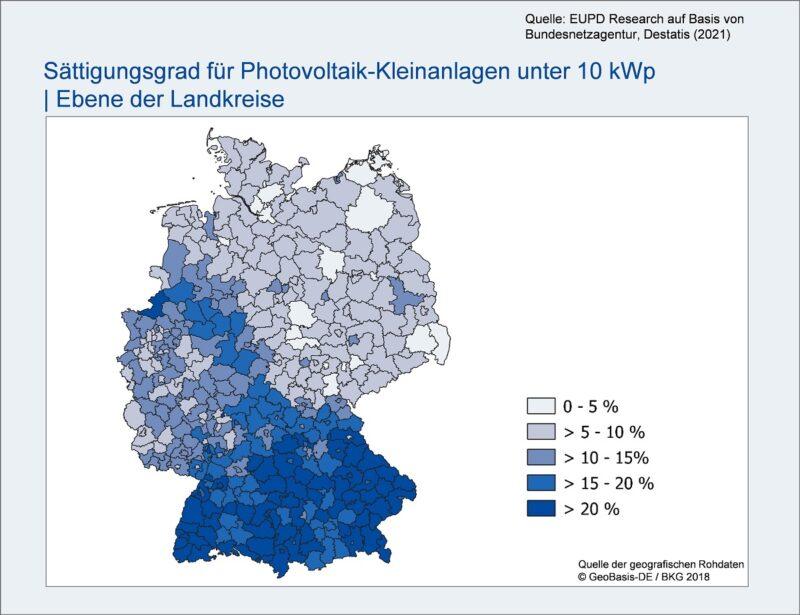 Zu sehen ist eine Landkarte, die das Photovoltaik-Potenzial in Deutschland nach Ländern aufzeigt.