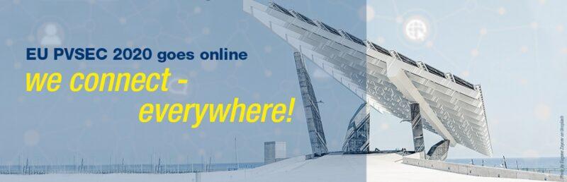 Zu sehen ist eine Montage eines architektonisch auffälligen Solardaches mit der Information, dass die EU PVSEC online geht.