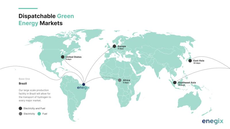 Grafik mit Weltkarte und Transportwegen von Wasserstoff via Weltmeere.