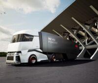 Zu sehen ist eine Amination eines Lkw der Zukunft in der Mobilität mit erneuerbaren Energien.
