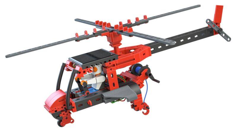 Zu sehen ist der Hubschrauber, der mit dem Fischertechnik Baukasten Solar Power gebaut werden kann.