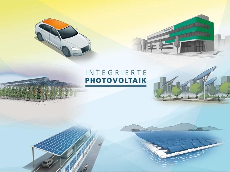 Zu sehen ist eine Grafik des Fraunhofer ISE die die Möglichkeiten für die Integrierte Photovoltaik aufzeigt.