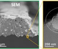 Zu sehen ist eine Rasterelektronenmikroskopie (SEM) und eine Transmissionselektronenmikroskopie (TEM) der Kontaktstelle der PERC-Solarzelle, die die Forscher:innen für eine leistungsfähigere Photovoltaik optimiert haben
