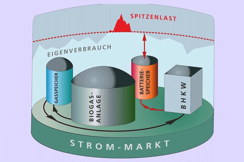 Grafik: Biogas-Anlage mit Wärme- und Stromspeicher
