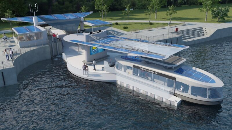 Zu sehen ist eine Animation einer Elektro-Solar-Personenfähre, die integrierbare Photovoltaik-Module auf dem Dach hat.