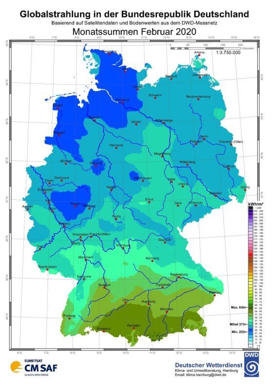 Zu sehen ist eine Deutschlandkarte mit der Sonneneinstrahlung im Februar 2020