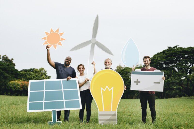 Zu sehen ist eine Energie Community aus Menschen quasi wie in Brunnthal.