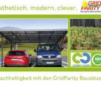 Solarcarport mit zwei Autos, Kiefernplantage, Logos cradletocradle und Certified Company Iso 14001/2015: Nachhaltigkeit mit den GridParity Bausätzen
