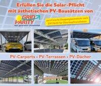 Text:Erfüllen Sie die Solar-Pflicht mit ästhetischen PV-Abausätzen von Grid Parity: zertifizierte Doppelglasmodule nach EN12600 für Überkopfinstallation; Photos von PV-Carports, PV-Terassen, PV-Dach