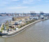 Luftbild des Klärwerks Hamburg an der Elbe