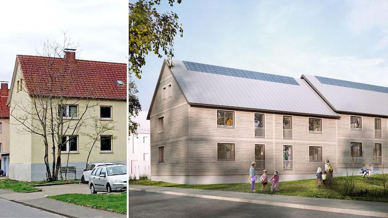 links ein Foto eines unsanierten Gebäudes, rechts grafische Simulation nach serieller Sanierung
