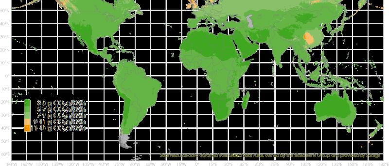 Die Grafik zeigt eine Weltkarte, die zonal unterschiedlich eingefärbt ist und so den CO2-Fußabdruck der Solarfolien von Heliatek illustriert. Die Farbe grün dominiert.