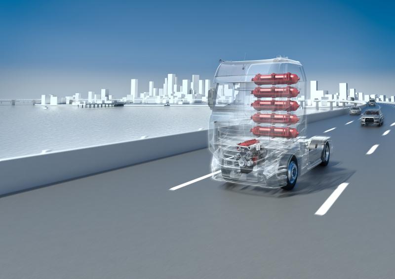 Die Grafik zeigt einen LKW mit Wasserstoffmotoren