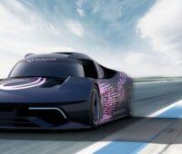 Animation eines 800 PS-Wasserstoff-Rennwagens.