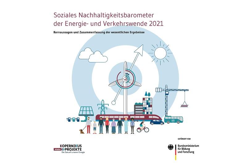 Zu sehen ist das Deckblatt: Das Soziale Nachhaltigkeitsbarometer der Energie- und Verkehrswende.