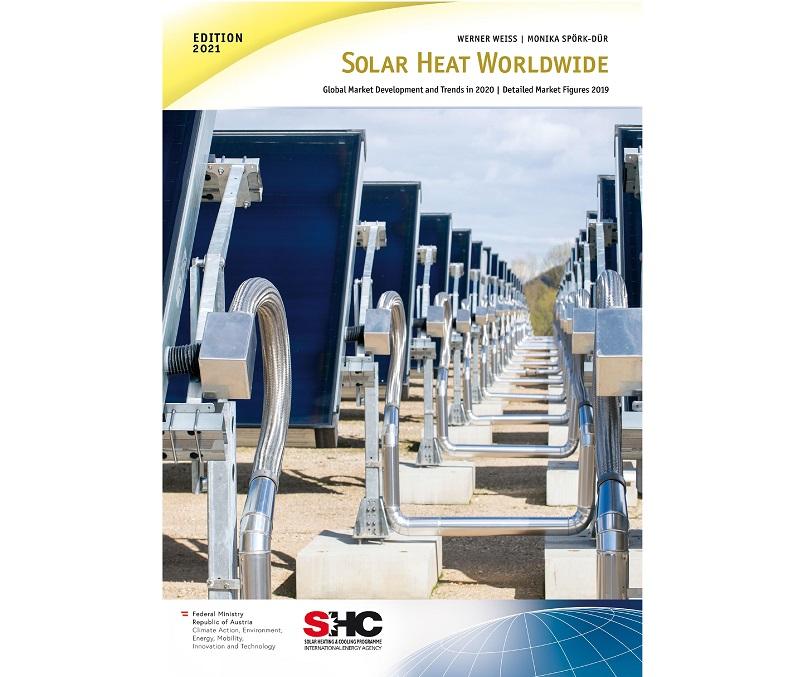 Zu sehen ist das Deckblatt der Solarthermie-Studie Solar Heat Worldwide 2021 der Internationalen Energieagentur.