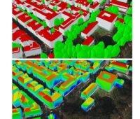 Zu sehen ist eine kleinräumige Solarpotenzialanalyse im Rahmen der IÖR-Studie über das Flächenpotenzial von Photovoltaik an Fassaden.