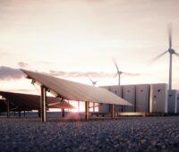 Zu sehen sind symbolisch Photovoltaik und Windkraft, die den inngoy Batteriespeicher speisen sollen.
