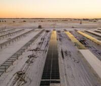 ZU sehen ist das Solarkraftwerk Vauxhall in Kanada. Photovoltaikmodule in schneededeckter Landschaft.