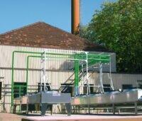 Zu sehen ist das BHKW Camphausen, wo die Abwärme aus Grubenwasser für die Fernwärmeversorgung genutzt werden soll.