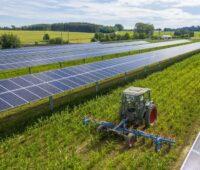 Zu sehen ist ein Mini-Traktor, der zwischen Reihen von Photovoltaik-Modulen das Land beackert.