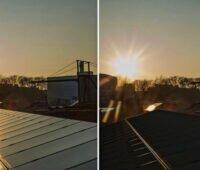 Zwei Fotos im Vergleich: eines zeigt Lichtreflexionen des Solardaches, das zweite keine.