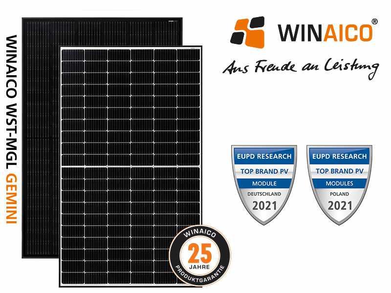 Winaico-aus Freude an Leistung: Abbildung zwei Photovoltaikmodule WST-MGL Gemini: 25 Jahre Produktgarantie_Top Btand PV Module EUPD Research 2021