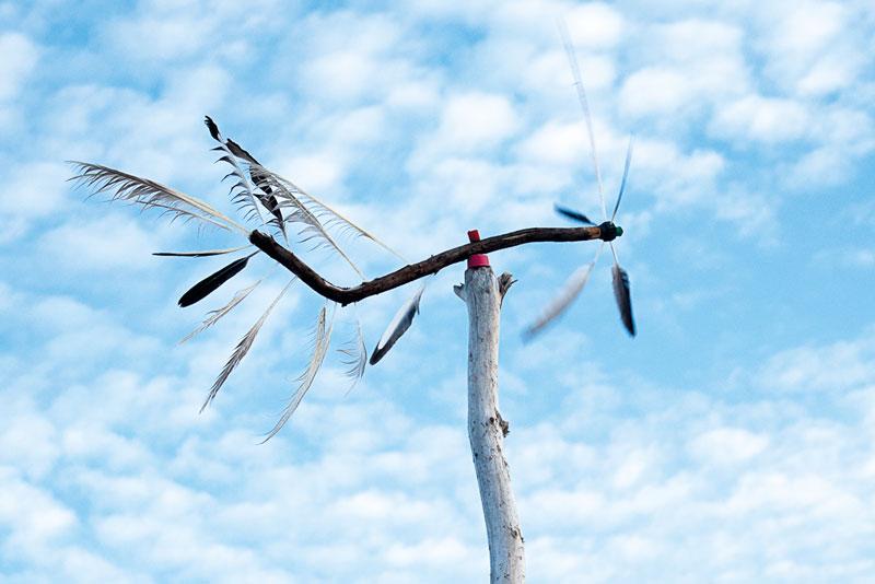 Windrad aus Möven-Federn und Strandgut