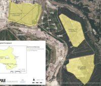 Sattelitenbild mit eingezeichneten Flächen für den Energiepark Lausitz