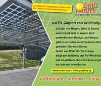 Photo PV-Carport; Daneben Text: ein PV-Carport von Gridparity und die unterschiedlichen Vorteile: weitere Infos unter www.gridparity.ag
