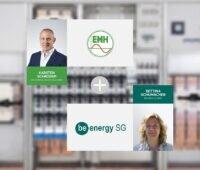 Zu sehen ist eine Abbildung mit den Logos und den Geschäftsführer:innen zur Kooperation von EMH und BeEnergy SG.
