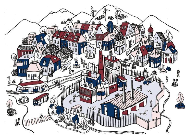 Zu sehen ist eine Zeichnung, die dem Testlauf vom Kopernikus-Projekt SynErgie in Augsburg symbolisiert.