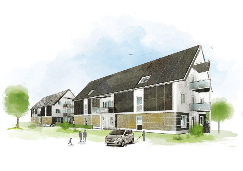 Eine Illustration mit solar gedeckten Mehrfamilienhäusern, einer Familie udn einer solaren Ladestation.