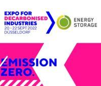 Zu sehen ist das Logo der neuen Messe Expo for Decarbonised Industries > Energy Storage.