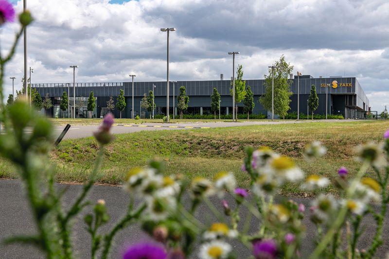 Eine moderne Fabrik - ein Flachbau auf der grünen Wiese.