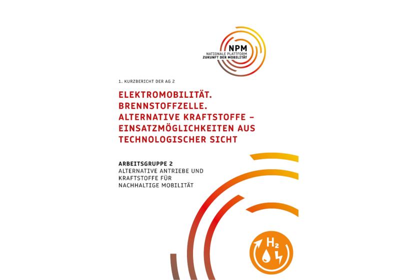 Cover des Kurzberichtes der Nationalen Plattform Zukunft der Mobilität zum Potenzial neuer Antriebe und Kraftstoffe
