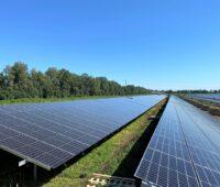 Förderfreier Sonnenstrom entsteht im Photovoltaik-Solarpark Schornhof, vom dem im Bild ein Ausschnitt zu sehen ist.