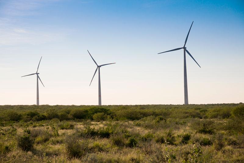 Drei Nordex-Windkraftanlagen in der Steppe