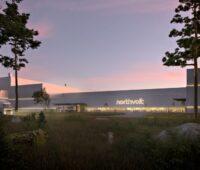 Die Fassade der Batteriefabrik Northvolt in Schweden