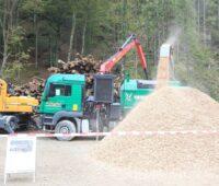 """Zu sehen ist die Produktion von Hackschnitzeln im Wald. Durch die """"Raus aus Öl und Gas""""-Förderung boomen Holzkessel in Österreich."""