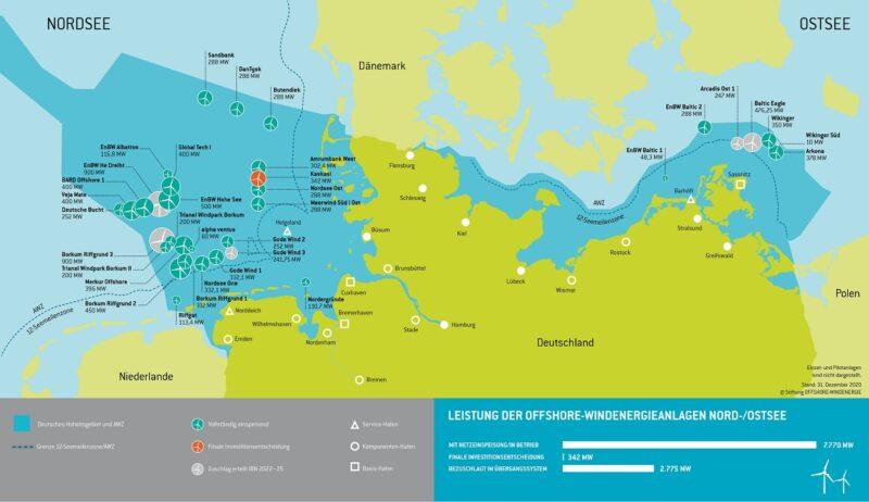 Zu sehen ist eine Karte mit den deutschen offshore Windparks. Butendiek liegt 32,6 km westlich von Sylt.