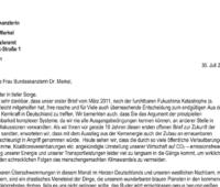 Screenshot des offenen Briefs an Angela Merkel, der Klimaneutralität 2035 fordert