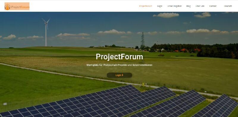 Zu sehen ist ein Screenshot vom Online-Marktplatz für Photovoltaik-Projekte ProjectForum.