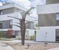 Zu sehen ist der Solarbaum in der Gemeinde Löchgau, der mit der Solarfolie von Asca aus organischen PV-Modulen realisiert wurde.