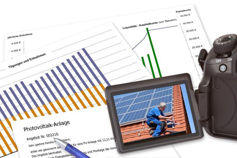 Zu sehen sind Planungsunterlagen für eine PV-Anlage. Stadt und Landkreis Osnabrück bieten einen Solar-Check an