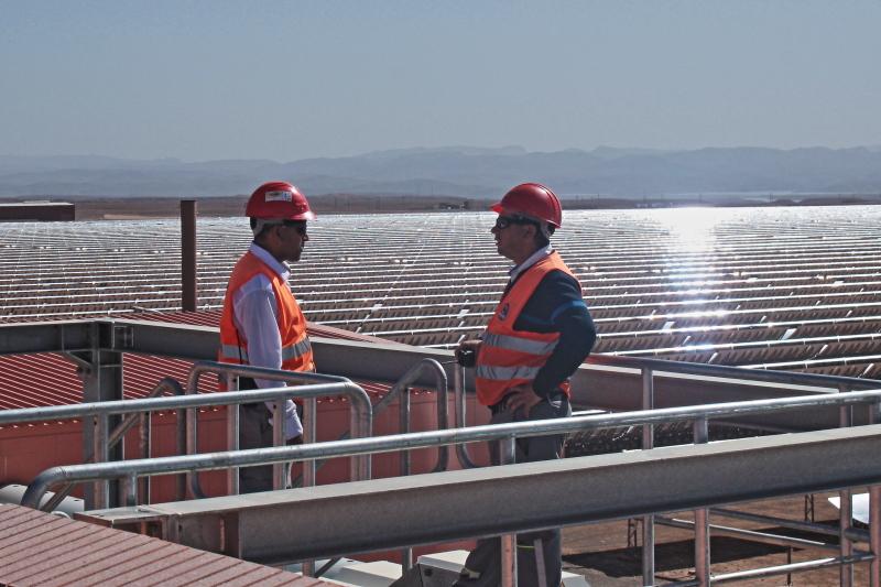 Zwei Ingenieure stehen in einem solarthermischen Spiegelfeld